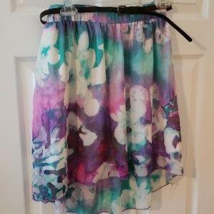 Multiple Color Skirt with Black Belt.